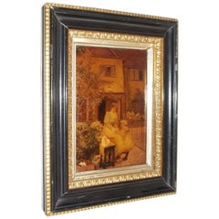 Victorian Crystoleum Picture of Mother and Child in Original Frame, circa 1890