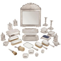 English Chinoiserie Style Twenty-Six Piece Silver Toilet Service
