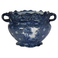 Antique Delft Blue Large Flowerpot or Jardinière with Dutch Flower Print