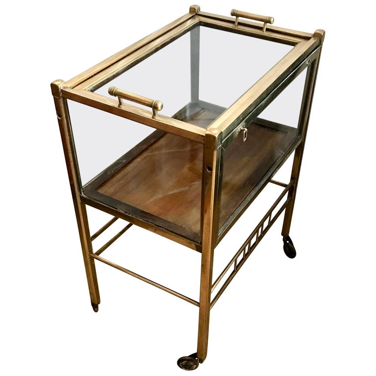 Art Deco Brass and Wood Bar Cart Trolley by Ernst Rockhausen, Germany, 1920s For Sale
