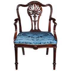 18th Century George III Robert Adam Period Mahogany Open Armchair