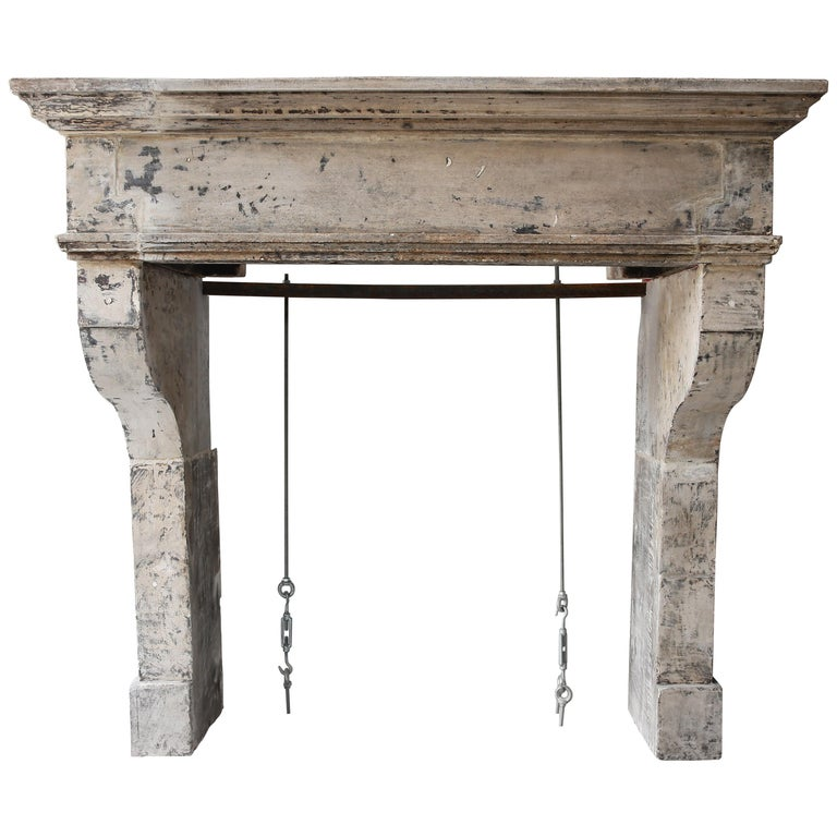 Antique Mantelpiece from the 19th Century, French Limestone, Campagnarde Style For Sale