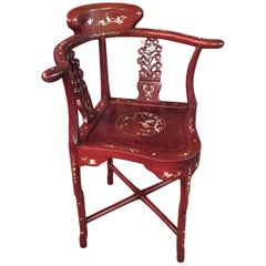 China Corner Chair with Mother of pearl Inlays