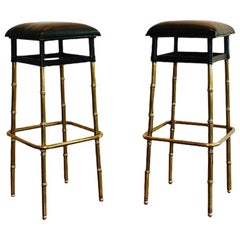 1950s Jacques Adnet Pair of Black Leather Bar Stools Bamboo Style