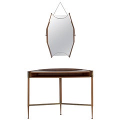 Italian Mahogany Wall Console with Black Formica Top and Wall Mirror, 1950