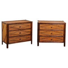 Beautiful Restored Pair of Tortoiseshell Bamboo and Cane Chests, circa 1980