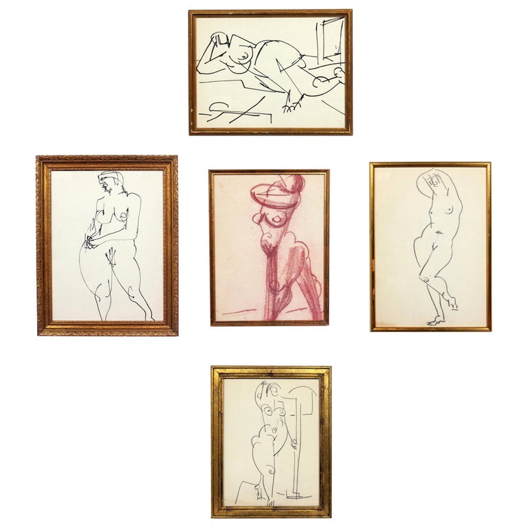 Selection of Figural Drawings in Vintage Gilt Frames For Sale