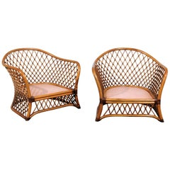 Sculptural Restored Pair of Large-Scale Lattice Club Chairs, circa 1990