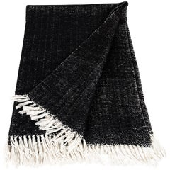Italian Black Cashmere and Cotton Hand-Loomed Throw Blanket