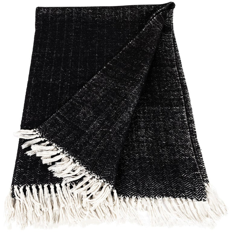 Italian Black Cashmere and Cotton Hand-Loomed Throw Blanket For Sale