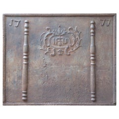 Large French Fireback with Pillars and IHS Monogram, Dated 1777