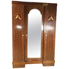 Art Deco French Mahogany Double Mirrored Wardrobe Inlaid, circa 1930