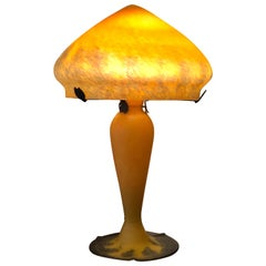 20th Century Charming French Art Deco Glass Cameo Table Lamp in Galle Style