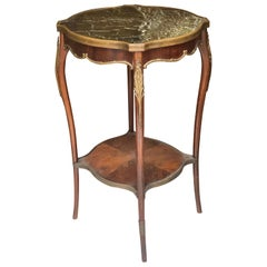 19th Century French Pedestal Table in Veneered Wood Louis XV Style