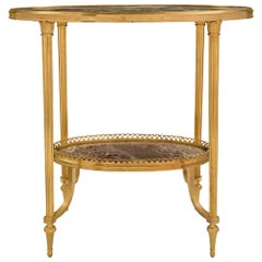 French Turn of the Century Louis XVI Style Ormolu and Marble Side Table