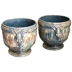 19th Century French Pair of Hand Painted Ceramic Pots
