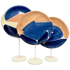 Mado Jolain, Decorative Ceramic Dish on Metal Base