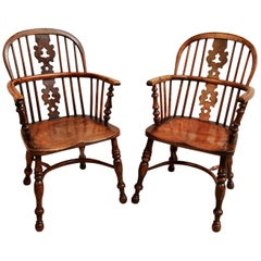 Pair of 19th Century Burr Yew Wood Windsor Armchairs