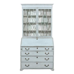 Swedish Gustavian Period Two-Part Painted Secretary with Glass Doors, circa 1790