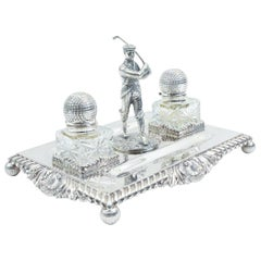 English Sheffield Silver Plated Footed Desk Inkwells with Stand