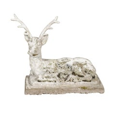 French Concrete Reclining Deer Sculpture with Weathered Patina, circa 1900