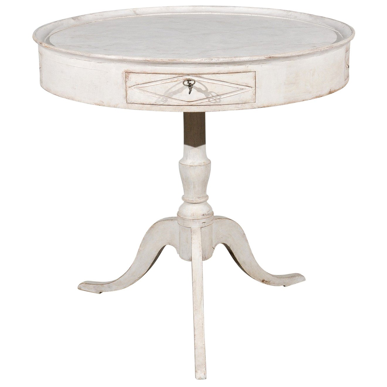 Swedish 1880s Painted Round Pedestal Table with Marbleized Tray Top and Drawers