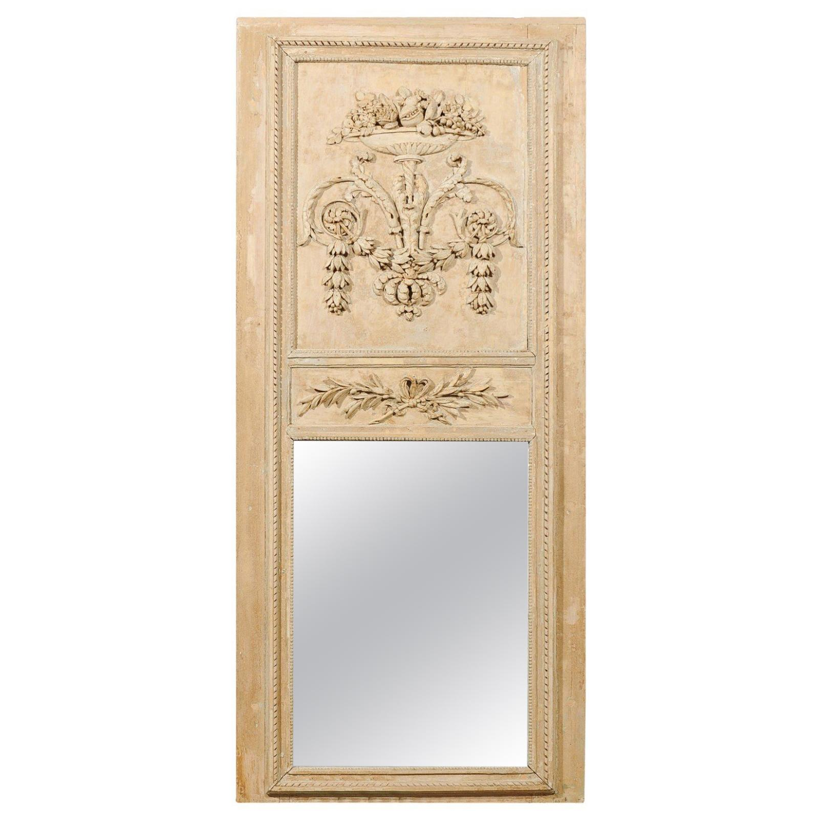 French Louis XVI Period 1790s Painted Wood Trumeau Mirror with Scrollwork Motifs