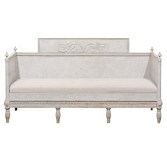 Swedish Neoclassical 1800s Painted Wood Sofa with Scrollwork and Waterleaves