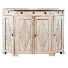 Swedish Painted Gustavian Style Sideboard with Reeded Diamonds, Mid 19th Century