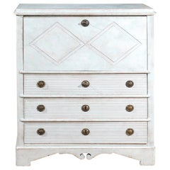 Swedish 1810s Late Gustavian Painted Drop-Front Secretary with Diamond Motifs