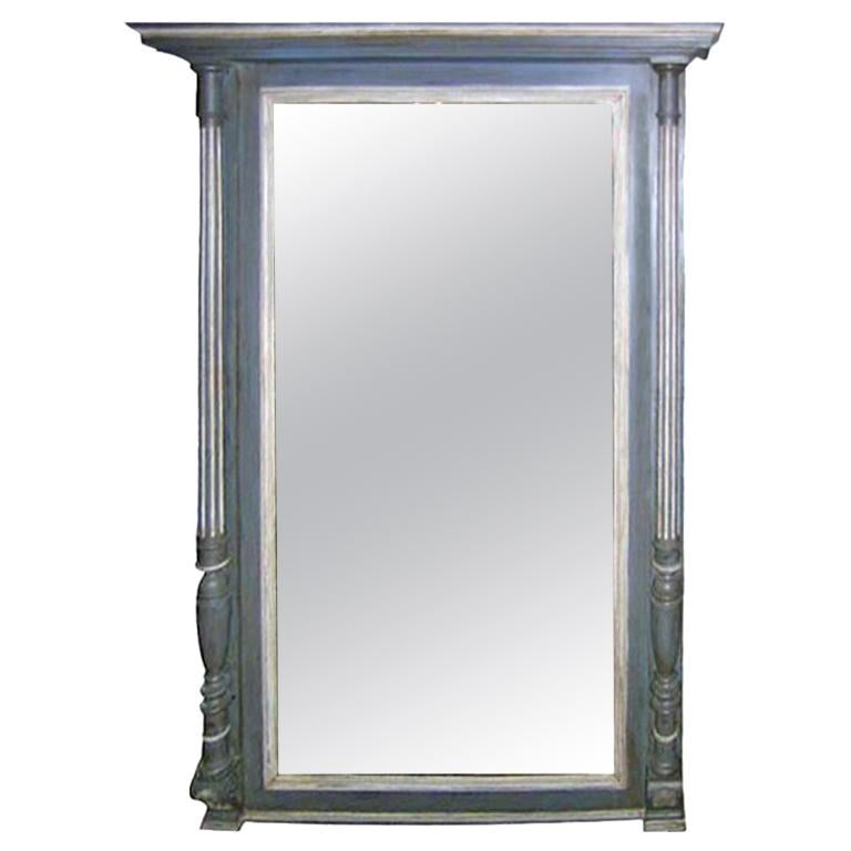 French 19th Century Carved Columned Mantel Mirror