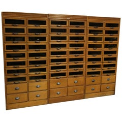 Vintage English Shop Cabinet or Display Case with 60 Drawers