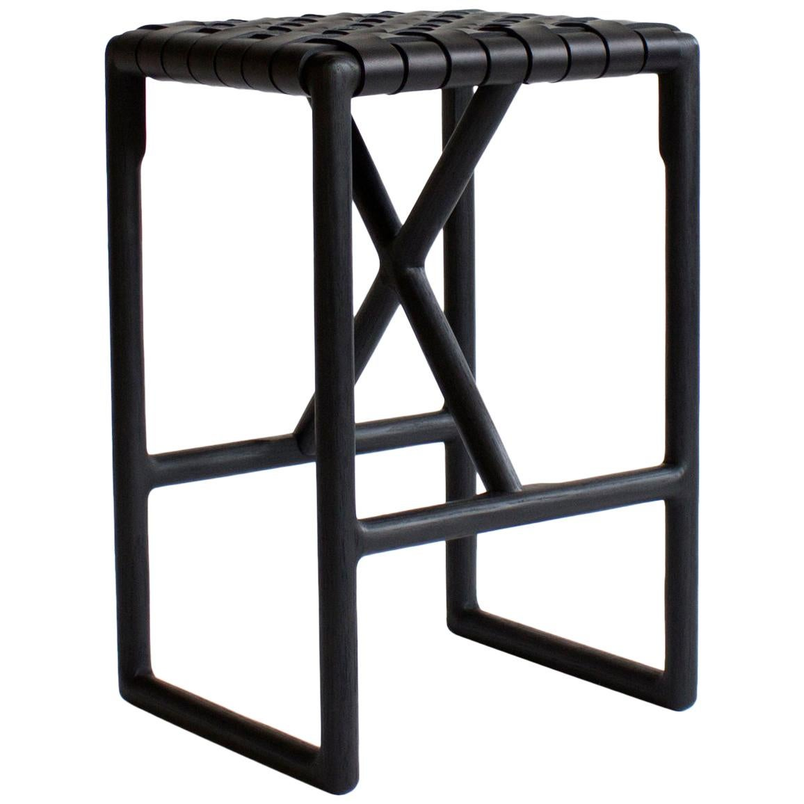 Montgomery Leather and Solid Wood Bar Stool or Counter Stool
