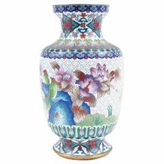 Vintage Cloisonné Decorative Vase with Birds and Floral Motif