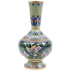 Mid-20th Century Cloisonné Decorative Vase with Floral Motif