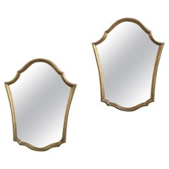 Pair of Shield Shaped Gilt Mirrors