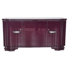 Lila Art Deco Sideboard mit Chrom Griffen