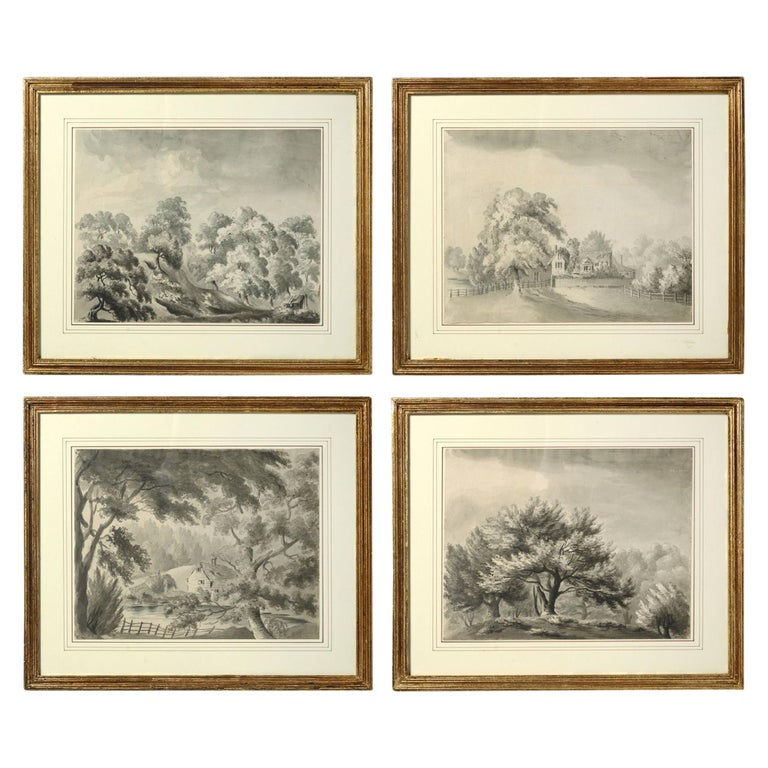 Four Early 19th Century Regency Period Sepia Landscapes