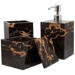 Luxury Unique Squared Set for Bathroom in Portoro Marble
