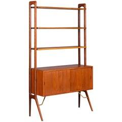Kurt Ostervig Danish Freestanding Teak Bookshelf Wall Unit, circa 1960