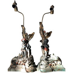 19th Century French Electrified Patinated Bronze Andirons with Nubians, Louis XV