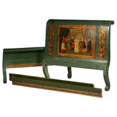 19th Century Hand Painted Dark Green Bed Frame in Renaissance Style