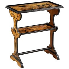 19th Century French Wooden Engraved Marquetry Side Table in Nancy Style