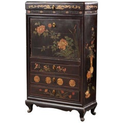 19th Century Hand Painted Secretary with Hidden Drawers and Floral Decorations
