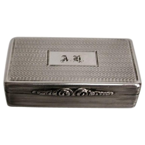 Antique George 1V Silver Snuff Box by Thomas Shaw of Birmingham, 1827