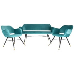 20th Century Italian Midcentury Velvet Sofa and Armchair Set, 1950s