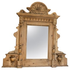 Natural Carved Wood Vintage Swedish Mirror