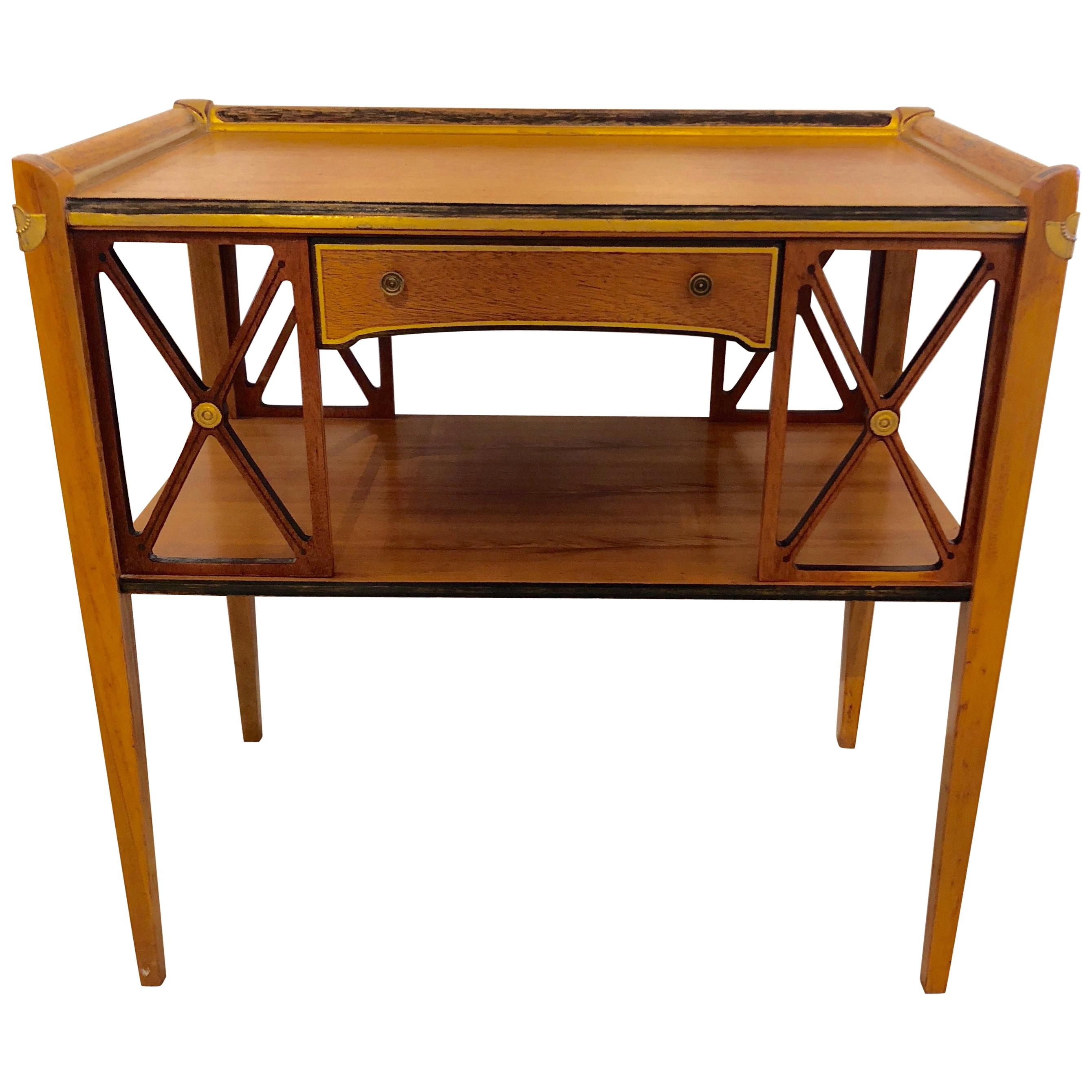 Charming Neoclassical Style Side Table with Drawer