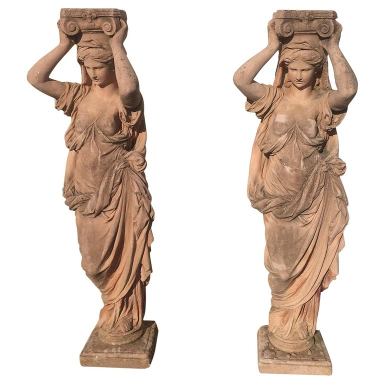 20th Century, Pair of Antique Greek Cariatide Stone Statues, 1950s For Sale