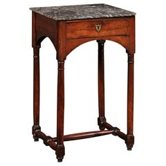 French 1870s Walnut Side Table with Grey Marble Top, Drawer and Arched Skirt